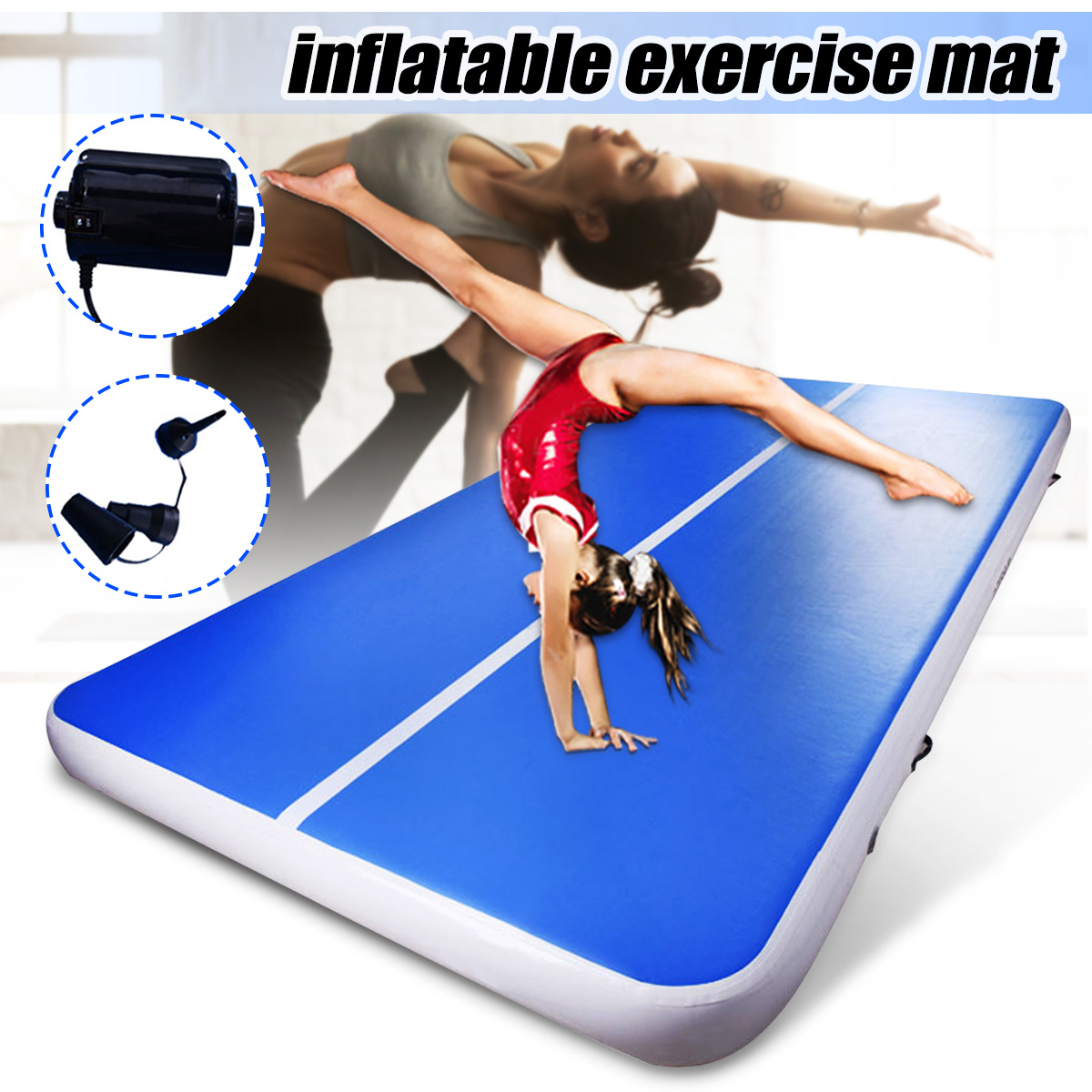 Multiple Sizes Inflatable Gymnastics Tumbling Mats Yoga Mat Practice Training Pad For Home Use