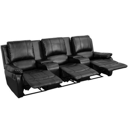 Seat Black Leather Home Theater (Pemberly Row 3 Seat Leather Reclining Home Theater Seating in)