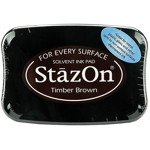 StazOn Solvent Ink Pad Large Timber Brown