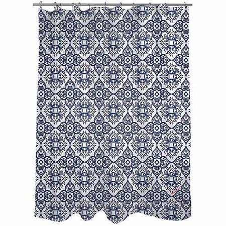 Thumbprintz Winter Garden Baroque Navy On White Shower Curtain