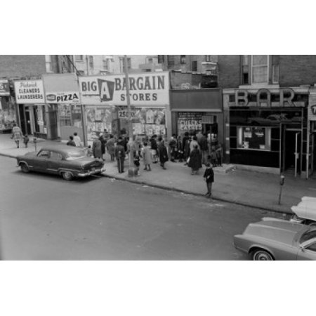 USA New York City The Bronx crowds in line to cash checks or purchase money orders Canvas Art - (24 x 36)