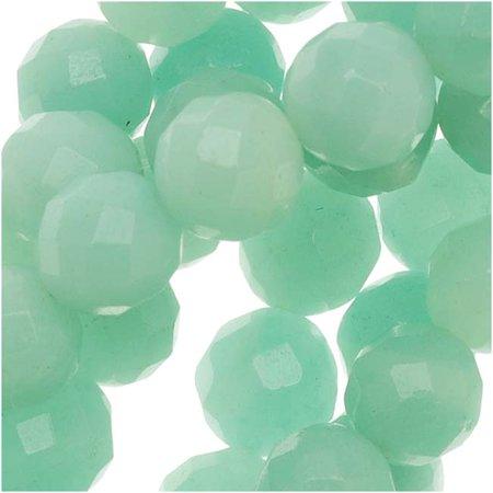 Aqua Amazonite Gemstone AA Grade 8mm Faceted Round Beads / 15.5 Inch Strand