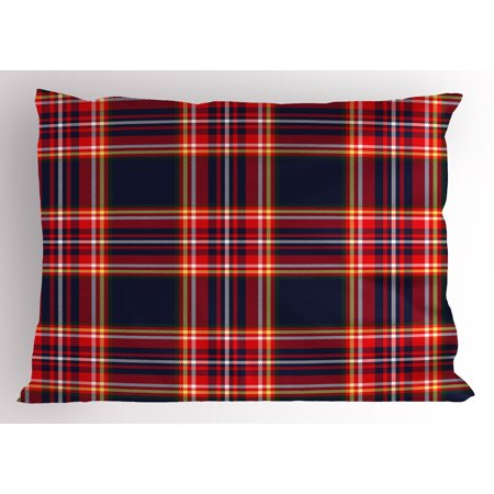 Red Plaid Pillow Sham Patchwork Inspirations Lines and Squares Traditional Pattern Vintage Illustration, Decorative Standard Size Printed Pillowcase, 26 X 20 Inches, Multicolor, by Ambesonne (Plaid Standard Sham)