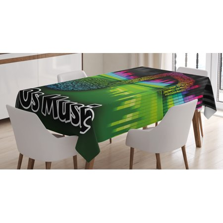 70s Party Decorations Tablecloth, Acoustic Audio Vivid Colored Musical Note Harmony Melody Soundtrack, Rectangular Table Cover for Dining Room Kitchen, 60 X 84 Inches, Multicolor, by Ambesonne](70s Table Decorations)