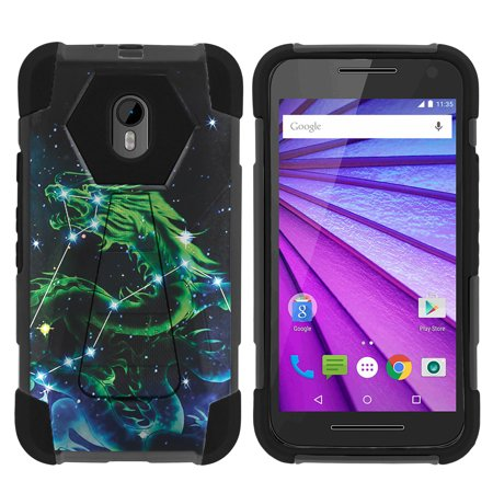 Case for Motorola Moto G 3rd Gen | Moto G3 Hybrid Cover [ Shock Fusion ] High Impact Shock Resistant Shell Case + Kickstand - Dragon