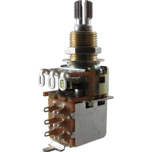 Potentiometer - Mini Guitar Potentiometers with Push Pull Switch (PDB183-GTR), Audio, Knurled Split Shaft By AmplifiedParts