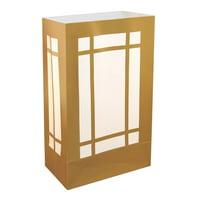 "Set of 12 Weather Resistant Gold Lantern Design Luminaria Bags 10"""