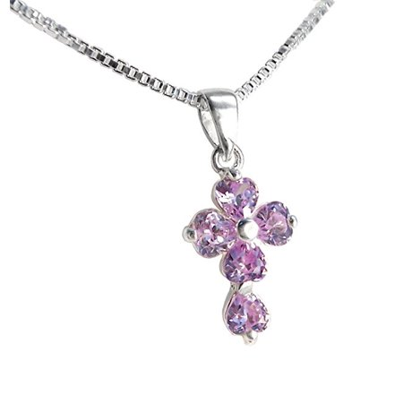 Sterling Silver Cross Birth Crystal Hearts Necklace, June Lavender