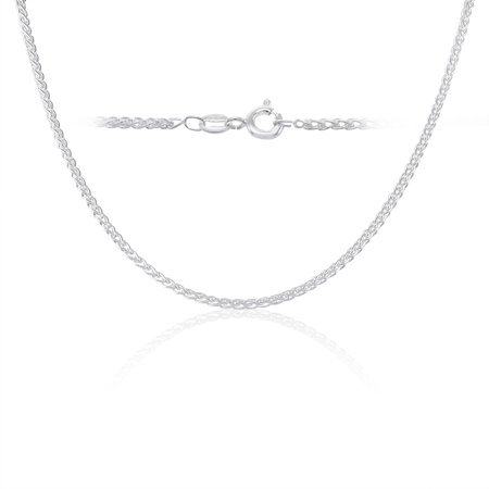 925 Sterling Silver Spiga Wheat Chain Necklace Made in Italy -14 inch