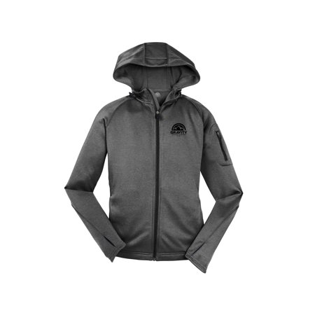 Gravity Outdoor Co. Womens Fleece Hooded Jacket - Black Logo - White - S - image 1 of 1