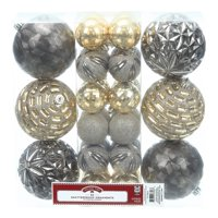 Holiday Time Shatterproof Ornaments, 30-Count, Gold Silver Zinc