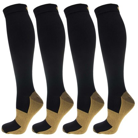 af75fe21bcfedf 4 Pairs of Ontel Copper-Infused Anti-Fatigue Compression Knee-High Health  Socks, For Men & Women Large/X-Large - Walmart.com