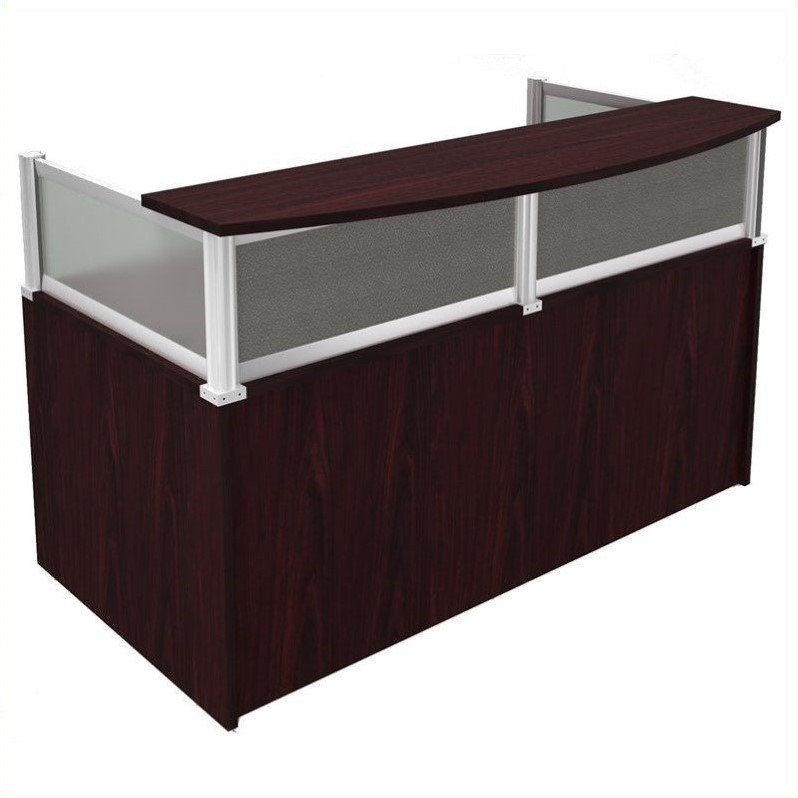 Boss Office Products Plexiglass Reception Desk in Mahogany-Cherry