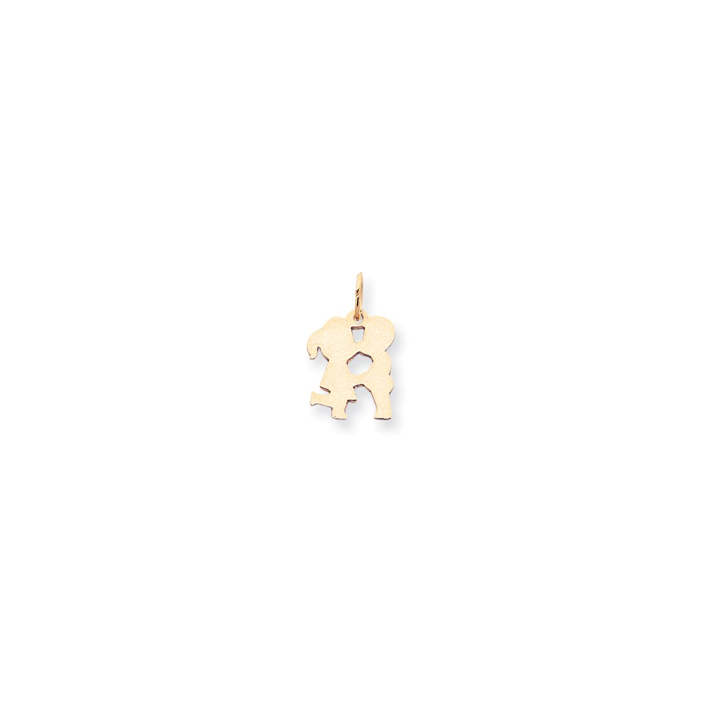 14k Yellow Gold Small 0.009 Gauge Engravable Boy & Girl Kissing Charm Pendant