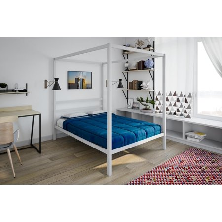 DHP Modern Canopy Bed, White, Multiple Sizes - Full ()