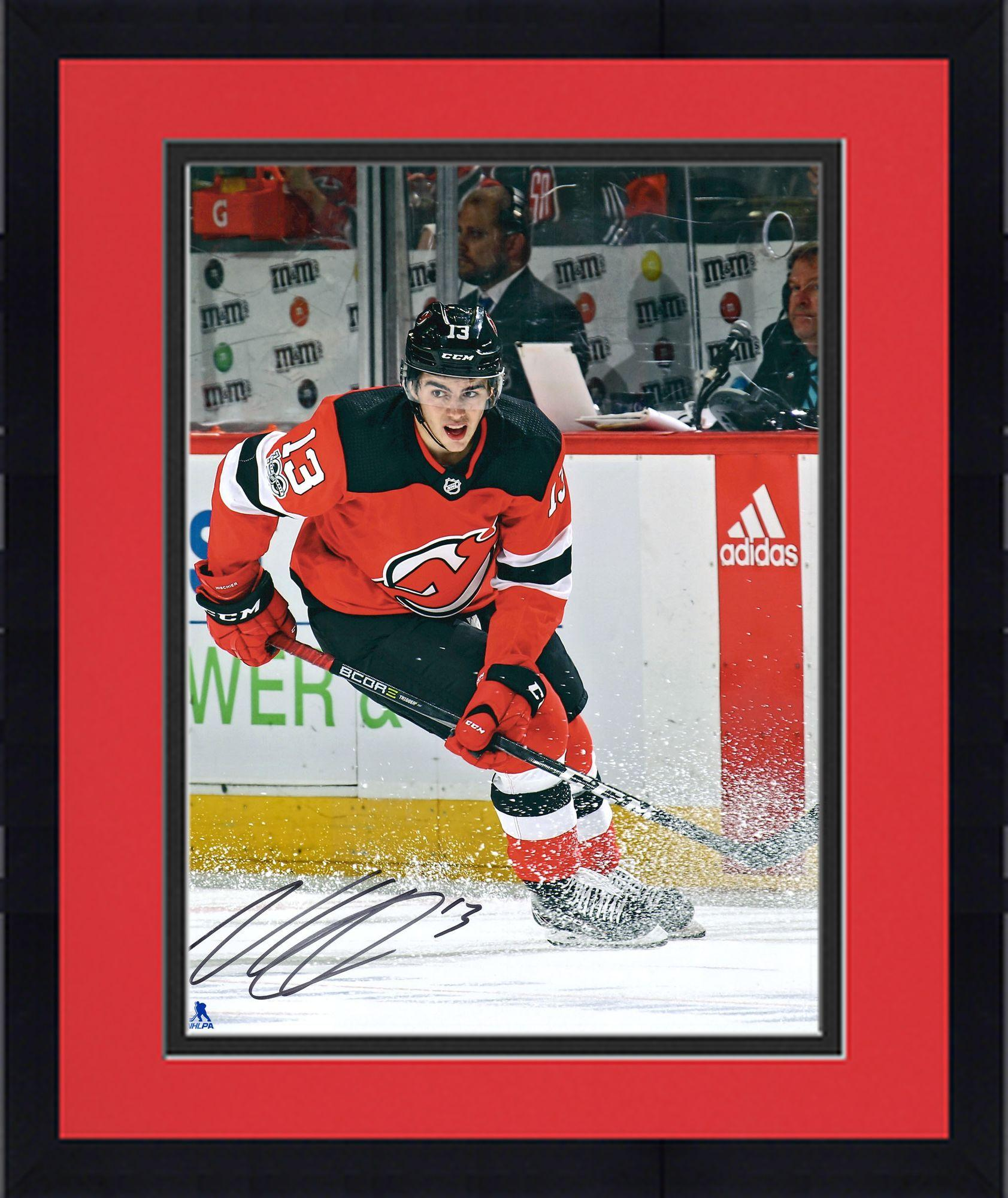 """Framed Nico Hischier New Jersey Devils Autographed 16"""" x 20"""" Red Jersey Skating Photograph Fanatics Authentic... by Fanatics Authentic"""
