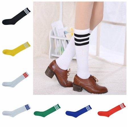 EFINNY Women High Striped Stocking Cheerleader Team Tube Socks Over Knee Soccer Football Striped Long Socks - Knee High Striped Stockings