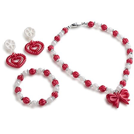 Red Princess Jewelry Set for Grils which contains Princess Necklace, Princess Earrings and Princess Bracelet by Dress Up America