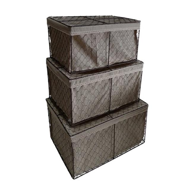 Cheung's FP-3374-3 Rectangular Lined Wire Storage Decorative Boxes with Lid (Set of 3)
