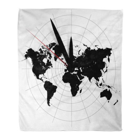 ASHLEIGH Flannel Throw Blanket Time World Map Clock Globe Old Zone Outline Vintage 58x80 Inch Lightweight Cozy Plush Fluffy Warm Fuzzy Soft ()
