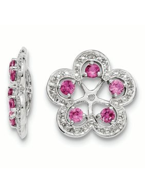 Sterling Silver Rhodium Diam. & Created Pink Sapphire Earring Jacket 2.5grams (L 16mm W 15mm)Sterling silver | Diamond | Rhodium-plated | Created pink sapphire