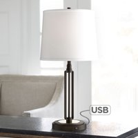 Franklin Iron Works Industrial Table Lamp with Hotel Style USB Charging Port Iron Bronze White Drum Shade for Living Room Family Bedroom