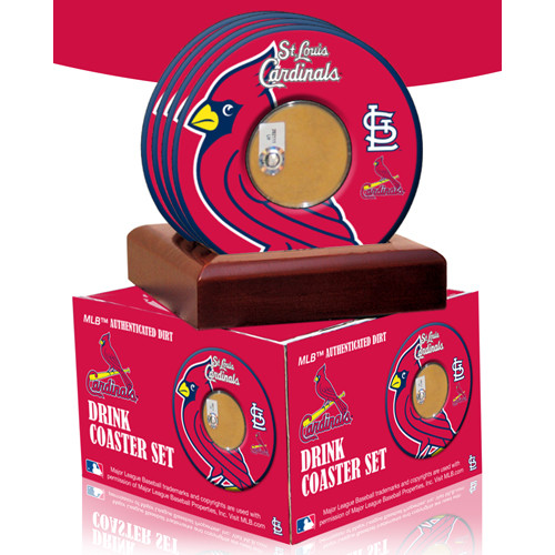 2010 Game Used Dirt In St. Louis Cardinals Logo Set of 4 Coasters (MLB Authenticated) Saint Louis Cardinals GU10STLCOAST