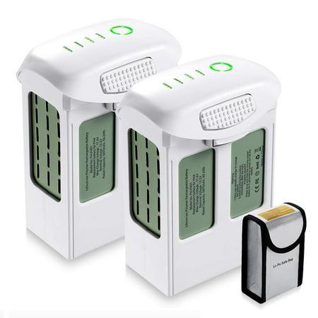 Powerextra 2-Pack 15.2V 5870mAh High Capacity LiPo Intelligent Flight Battery for DJI Phantom 4, Phantom 4 Pro, Phantom 4 Pro V2.0, Phantom 4 Advanced Drone With Replacement Battery Safe Bag ()