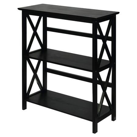 - Montego 3-Shelf Bookcase-Black
