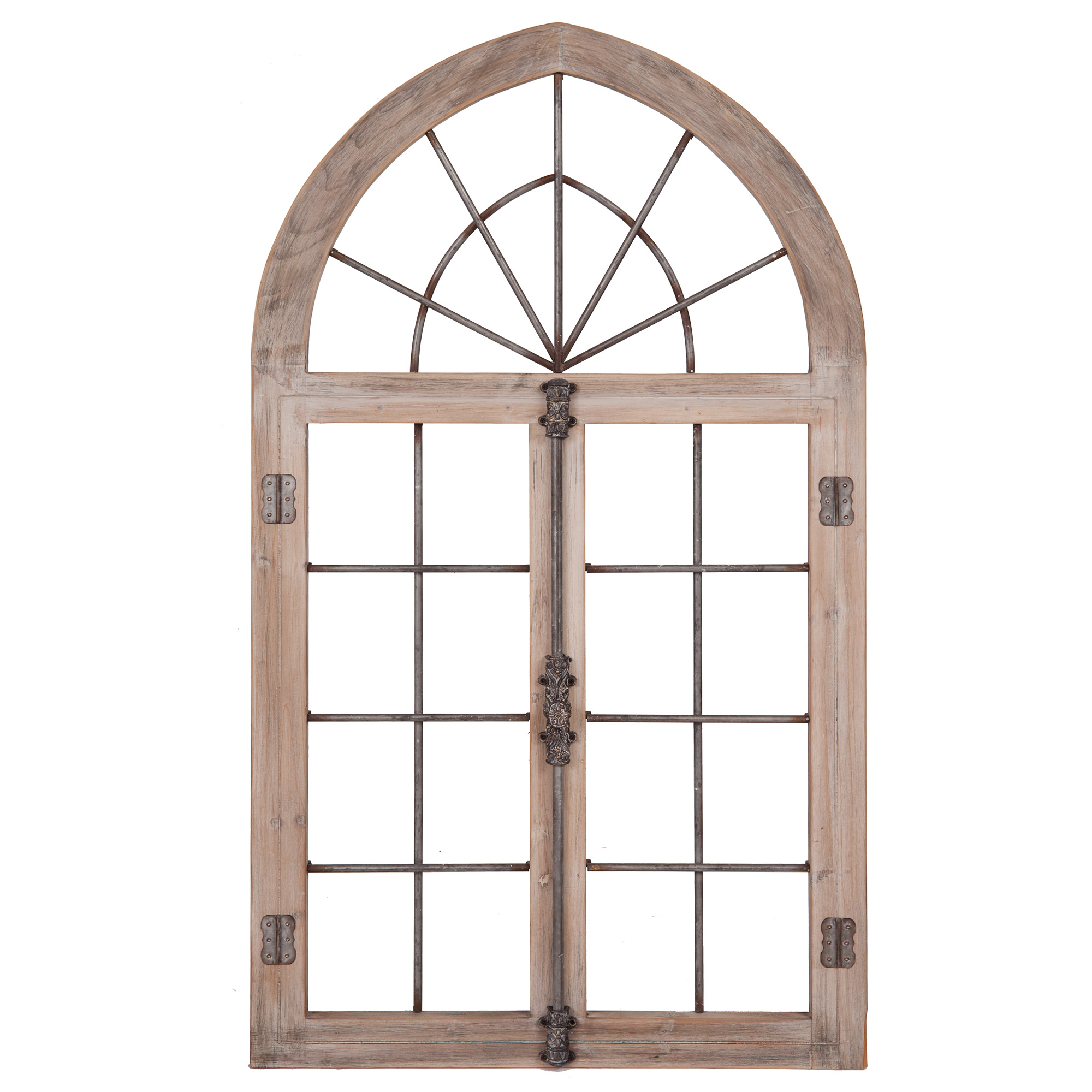 Patton Wall Decor Distressed Gray Arched Cathedral Window ...