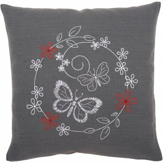 Butterflies Cushion Stamped Embroidery Kit - 16 x 16 in.