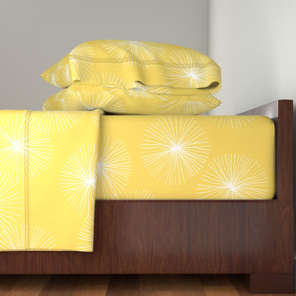 Mod Modern Dandelion Floral Yellow 100% Cotton Sateen Sheet Set by Roostery