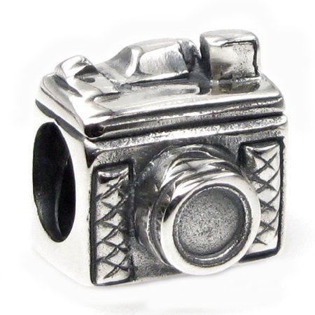 Sterling Silver Classic 3D Photography Camera Bead Charm Fits Pandora