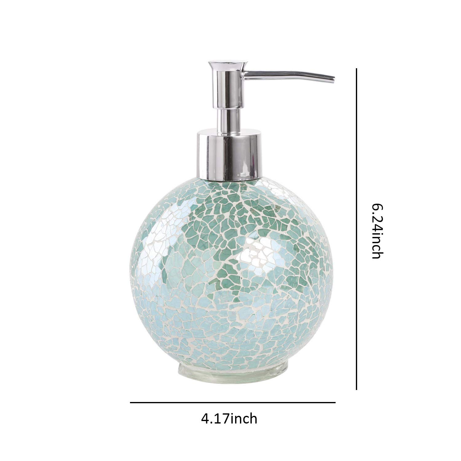 Bathroom Accessories Set 4 Piece Glass Mosaic Bath Accessory Completes With Lotion Dispenser Soap Pump Cotton Jar Vanity Tray Toothbrush Holder Turquoise Walmart Com Walmart Com