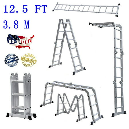 Practical 12.5FT 12-Step Joints Aluminum Folding Telescopic Ladder Multi Purpose Step Silver