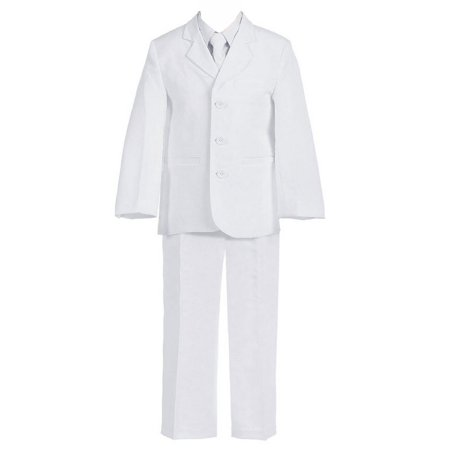 Big Boys White 5 Pcs Shirt Vest Jacket Tie Pants Husky Suit](Boys White Suits)