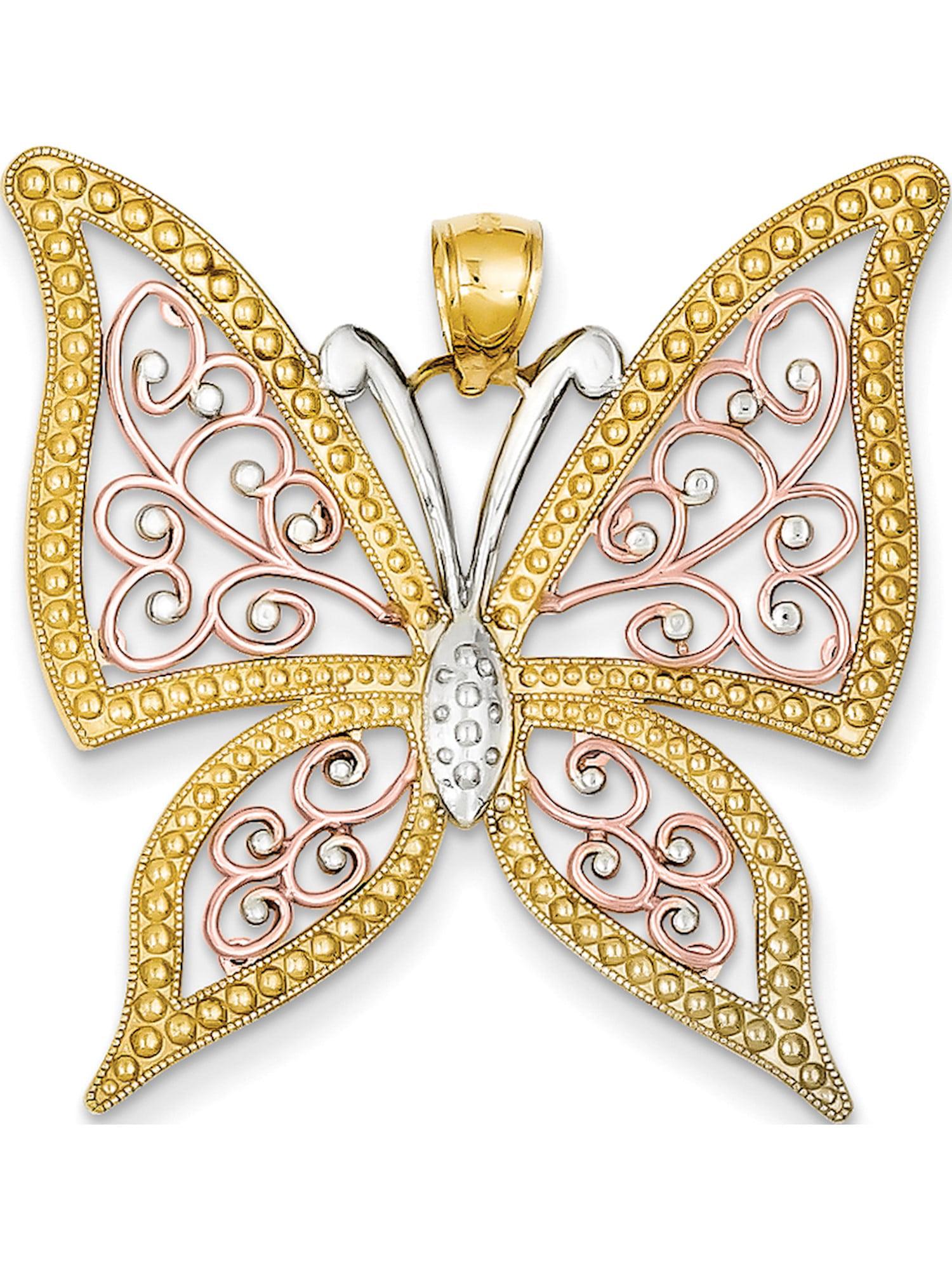 14k Yellow Gold Textured Filigree Style Butterlfy Pendant