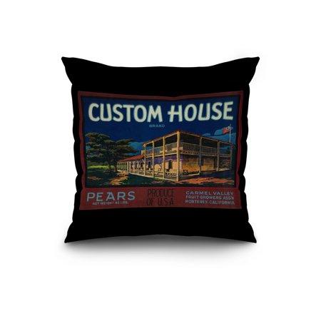 Custom House Pear Crate Label 20x20 Spun Polyester Pillow Black Border