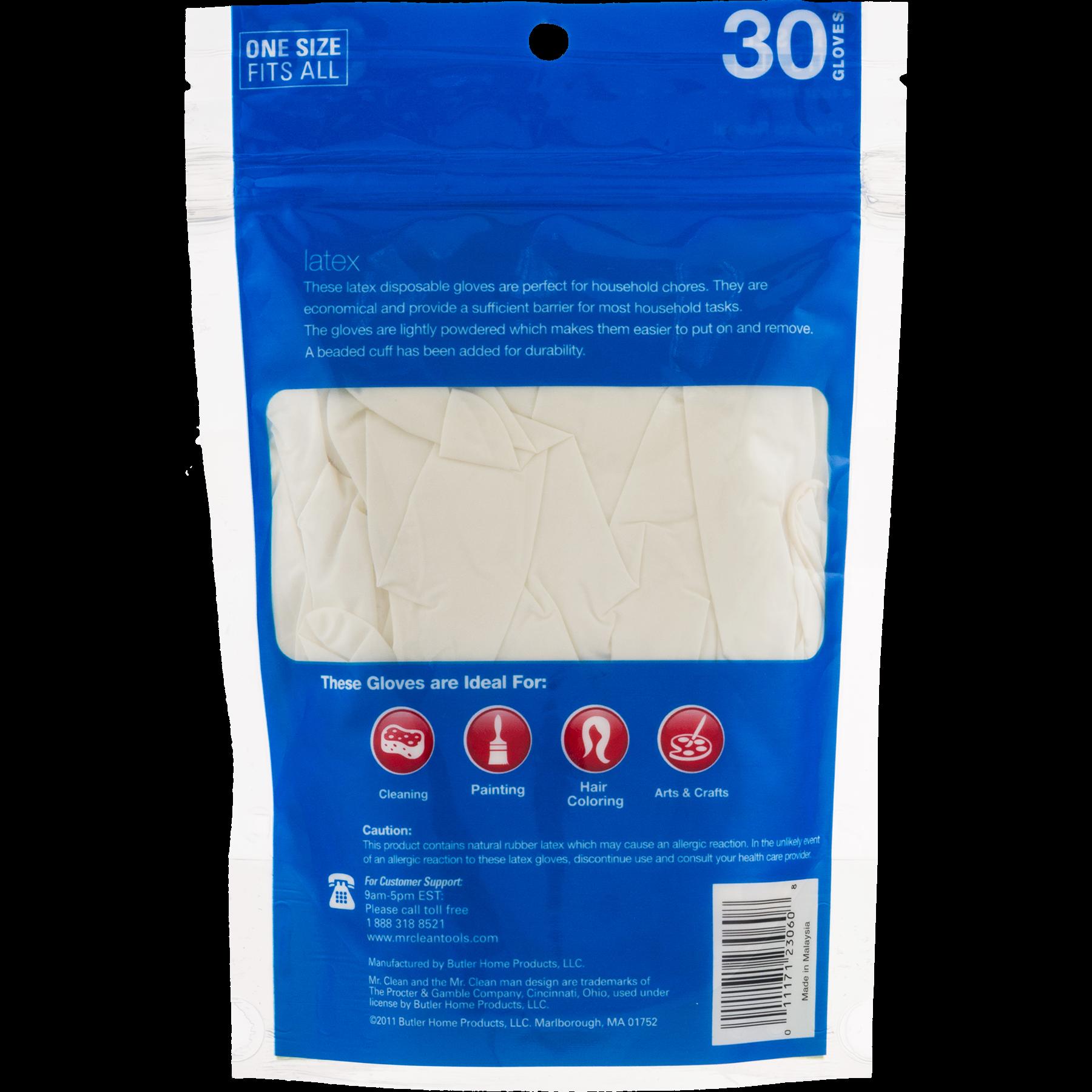 Mr  Clean Disposable Latex Gloves, 30 Ct - Walmart com