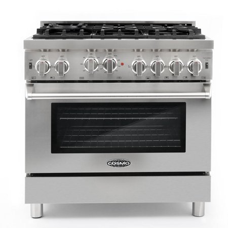 Cosmo COS-GRP366 Commercial-Style 36 in. 4.5 cu. ft. Gas Range with 6 Italian Burners and Heavy Duty Cast Iron Grates in Stainless Steel