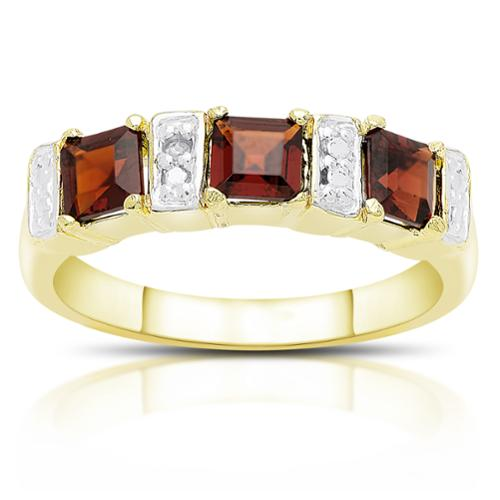 Dolce Giavonna Gold Over Sterling Silver Garnet and Diamond Accent 3-stone Ring Garnet, Size 7