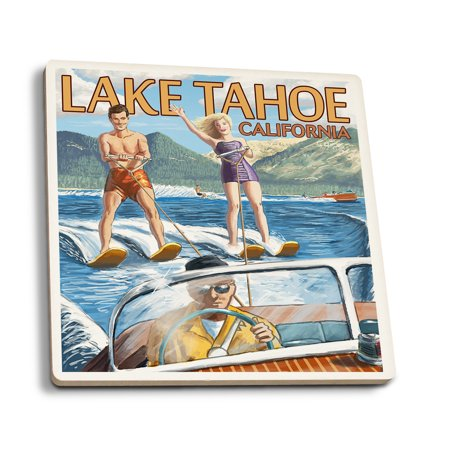 Lake Tahoe, California - Water Skiing Scene - Lantern Press Artwork (Set of 4 Ceramic Coasters - Cork-backed, (Best Lakes In California For Jet Skiing)