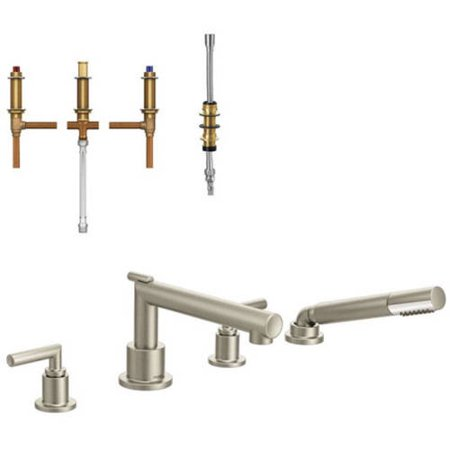 Moen Krtar Dh Ts93004cr Arris Two Handle Diverter Roman Tub Faucet With Hand