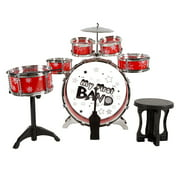 Toy Drum Set for Kids, 7 Piece Set with Bass Drum with Foot