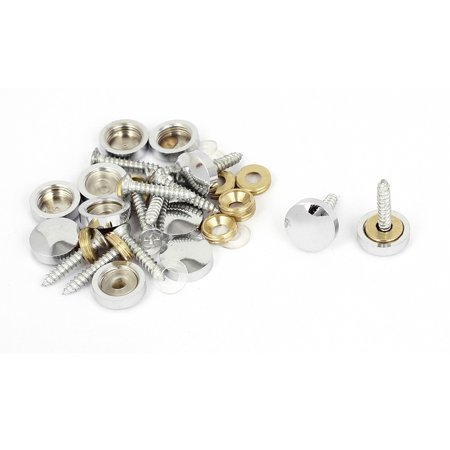 Uxcell 14mmx21mm Stainless Steel Decorative Round Cap Screw Nails for Mirrors(12 Sets) ()