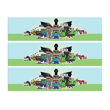 Minecraft Edible Cake Strips Cake topper decoration Set of 3 Edible Image for Sides of birthday cake Edible Images BLK34](Minecraft Cake Supplies)