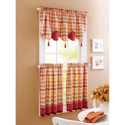 Better Homes And Gardens Kitchen Curtains: Better Homes And Gardens Red Check Window Tiers
