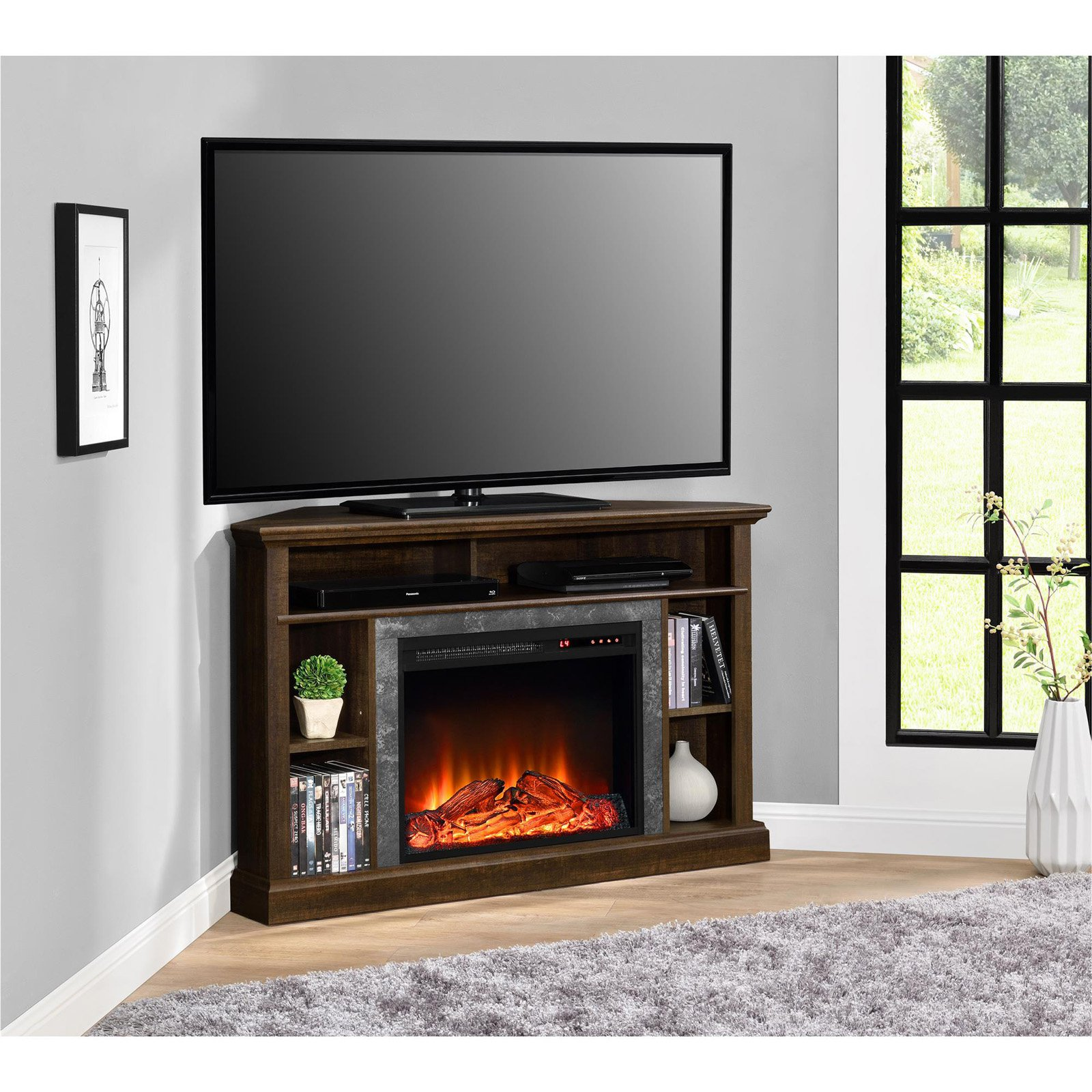 ameriwood home overland electric corner fireplace for tvs up to 50 rh walmart com  rustic corner electric fireplace entertainment center