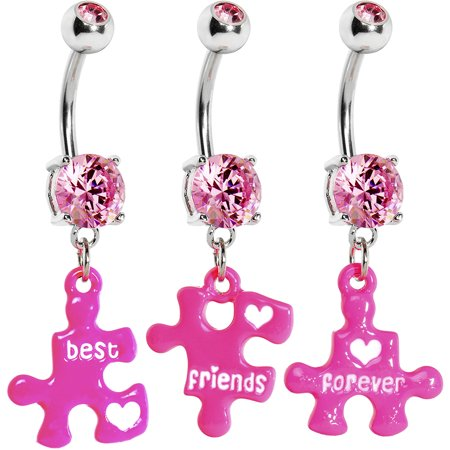 Pink Triple Puzzle Piece Best Friends Forever Dangle Belly Ring