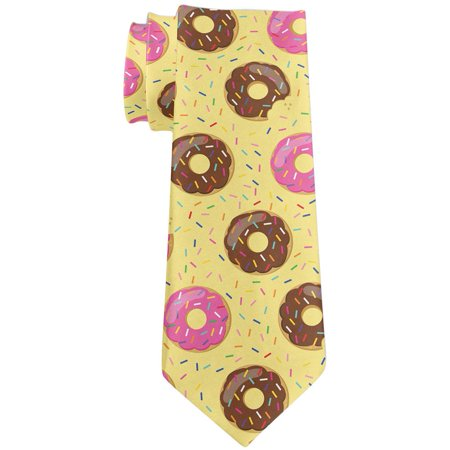 Frosted Donut Sprinkles Food Repeat Pattern All Over Neck Tie Yellow Standard One Size